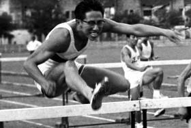 Tan Eng Yoon won the 400m hurdles event in 1959.