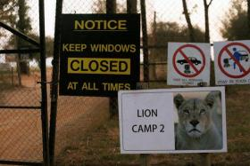 The entrance to Lion Park where an American woman was mauled by a lioness.