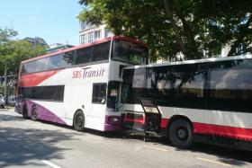 At least 20 people were in a bus collision at Changi Road this morning.