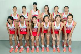 Singapore Netball SEA Games team (back row, from left) Yasmin Ho, Charmaine Soh, Chen Lili, Shelby Koh, Micky Lin Qingyi, Shina Teo; (front row, from left): Nurul Baizura, Premila Hirubalan, Kimberly Lim, Chen Huifen, Ang Shiqi, Pamela Liew.