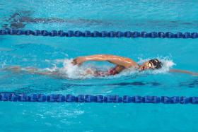 IRON LADY: Vietnamese swimmer Nguyen Thi Anh Vien during a training session at the OCBC Arena.