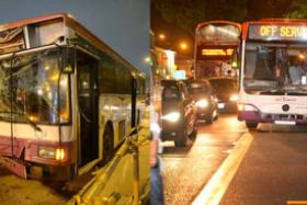 Photo montage of the various accidents involving buses.