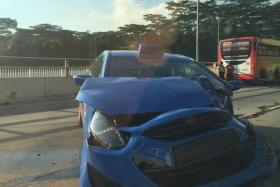 The cabby and passenger were hurt in this morning's crash.