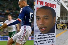 Thierry Henry, handling the ball before the passing ball which scored the decisive goal.