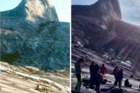 Screengrab showing the mountain before and after the quake