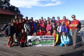 The group from Tanjong Katong Primary School which climbed Mount Kinabalu.