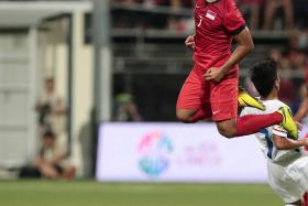 UNDER PRESSURE: Singapore Under-23 striker Sahil Suhaimi (above) says he has been trying too hard to score.