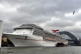 Cruise ship Carnival Spirit docked in Sydney Harbour on April 22, 2015.