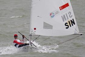 Bernie Chin won one of Singapore four gold medals in sailing on Tuesday.