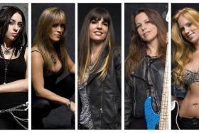ROCKERS: The Iron Maidens are guitarist Nikki Stringfield, drummer Linda McDonald, frontwoman Kirsten Rosenberg, bassist Wanda Ortiz, and guitarist Courtney Cox.