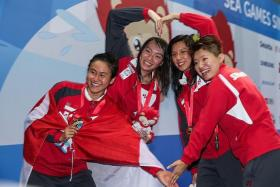 LIONHEARTS: (From left) Quah Ting Wen, Roanne Ho, Amanda LIm and Tao Li showing their playful sides.