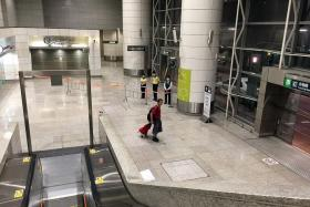 WORRY: Tsing Yi MTR station, usually crowded, was practically a ghost town on Wednesday night.