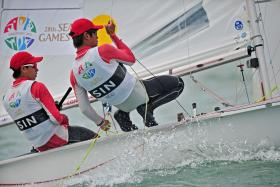 Singapore's Jeremiah Yeo and Darren Choy Wong Loong in action