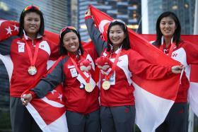 Singapore's keelboat racers Jovina Choo, Terena Lam,, Dawn Liu and Daniella Ng won gold