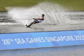 BEAST OF BEDOK: Singapore's Mark Leong keeping cool on the waters of Bedok Reservoir to win gold in the men's slalom yesterday.