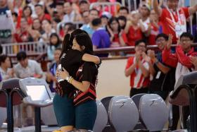 TOP TWO: Jazreel Tan and Daphne Tan ensure a gold-silver finish in the women's Masters step-ladder final.