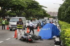 SMASHED: The impact was so great that Mr Liow Yong Seng's motorcycle broke into two and was flung across the expressway.