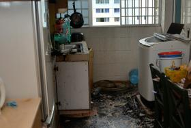 FIRE: Mr K.L. Yang alerted his sleeping neighbour to a fire in her unit. He had noticed smoke coming out from the kitchen when he was downstairs.