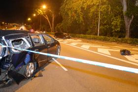 The wrecked Toyota Wish after it was crashed into from behind on the Central Expressway on Aug 9 2013