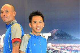 Mr Winston Ng (left) and Mr Andy Neo will be running in the ASICS Beat the Sun race on Mont Blanc on June 21.