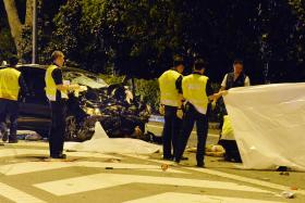 TRAGIC: The scene of the tragic accident at the CTE exit to Yio Chu Kang that killed four. The driver, Toh Cheng Yang, had been under the influence of drugs and had also been speeding.