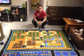 Super Mario fan Kjetil Nordin spent six years to finish his crochet of the first Super Mario Bros 3 world map.