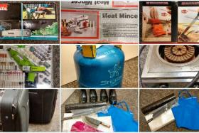 A meat mincer, chainsaw, kitchen knives, gas cooker, gas cylinder tank, a tool set, trolley bags, plastic sheets, cable ties, cleaver, aprons, chopping board and rubber boots were seized from a chalet.