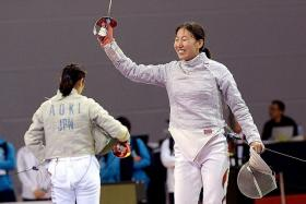 TOUCHE: Shen Chen (above) is targeting a podium finish in next year's Olympics, after winning the Asian individual women's sabre title by beating Japan's Chika Aoki yesterday.