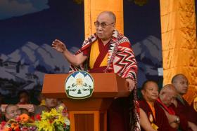 The Dalai Lama speaks at an event to celebrate his 80th birthday at Tsuglakhang temple in McLeod Ganj on June 22, 2015.
