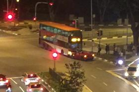 The scene of the accident involving the Ferrari and SBS bus.