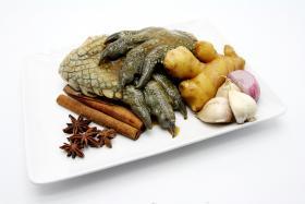 The ingredients for stewed crocodile paw at Old Geylang