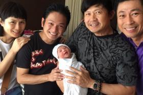 (L-R) Pan Ling Ling, Dennis Chew, Chen Tianwen carrying his newborn son and Huang Shinan.
