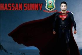 Hassan Sunny, seen here superimposed on an image of Superman, has been impressive form in the Thai Premier League.
