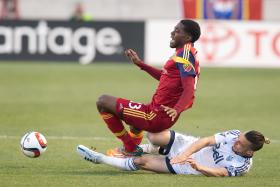 Olmes Garcia playing for Real Salt Lake against Vancouver Whitecaps FC in April
