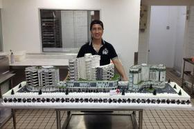 LARGEST EVER: Pastry chef Daniel Chan (right) with the largest cake he has ever made - a replica of the Jurong Health group buildings. He made a cake replica of the Prima Tower Revolving Restaurant in the 1990s (top) and one of James Cook University's Singapore campus in Upper Thomson Road in the 2000s.