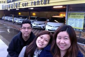 HOLIDAY HELL: Miss Heidi Ang (middle) with her friends Mr Lim Zi Jie (left) and Miss Huang Huifang (right) in Perth before the accident.