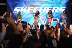 IN ACTION: Sistar (above) during their performance yesterday. They comprise Soyou, Bora, Hyorin and Dasom.