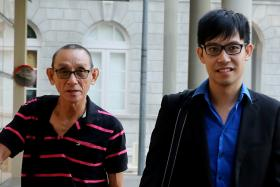 DAY 2: Blogger Roy Ngerng Yi Ling and his father outside the High Court yesterday.