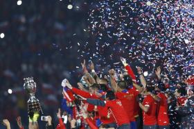 Chile celebrates after defeating Argentina in the Copa America 2015 final soccer match at National Stadium in Santiago, Chile.