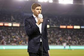 Steven Gerrard addressing the fans of LA Galaxy at half-time during the 4-0 win over Toronto FC.