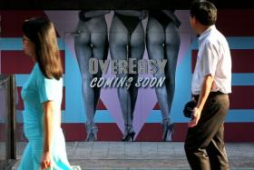CATCHY: The billboard in Orchard Road is to announce the opening of the second outlet of OverEasy.