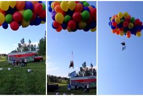 A Canadian man parachuted from a flying lawn chair powered by helium balloons.