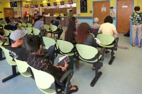 People at the Bedok Polyclinic.