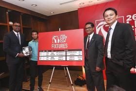 THE MATCH-UPS: (From left) Red Card Global CEO R Sasikumar, former national football star Indra Sahdan, FAS president Zainudin Nordin and FAS general secretary Winston Lee unveiling the 2015 Lion City Cup fixtures.