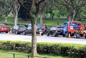 ACCIDENT: Two accidents, each involving eight cars, led to a massive jam on the Pan-Island Expressway yesterday morning.