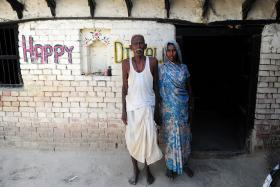Indian farmer Ramjanam Mauriya (left) is struggling to prove to authorities that he is still alive after being declared dead by his younger brother.