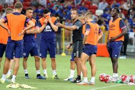"""""""The pre-season is not about winning, the preseason is about getting the physical aspects right as a team. But it is different when you come to a tournament like this... you want to win."""" - Everton manager Roberto Martinez (below, in dark grey)"""