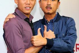 LUCKY MEN: Wang Weiliang (left) pairs up with Chew Chor Meng for upcoming local movie Lucky Boy, in which Chew will play Wang's dad.
