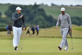 """""""I've played enough golf with him to believe in my skill set that I can still trump that crazy ability that he has. — Jordan Spieth (left) on Dustin Johnson's driving ability"""""""