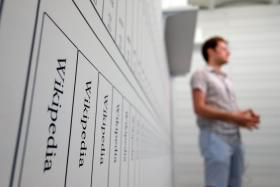 Artist Michael Mandiberg printed out more than 11.5 million Wikipedia articles and made them into books.